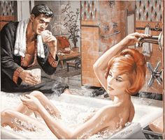 Not only has he gotten her to his pad, but convinced her to enjoy a hot bubble bath. This was a story illustration in Stag magazine circa Sci Fi Horror, Vintage Romance, Pulp Art, Magazine Art, Views Album, Illustrators, Disney Characters, Fictional Characters, Retro