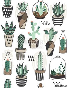 Vecteur : Seamless pattern with succulents in terrarium. Vecteur : Seamless pattern with succulents in terrarium. Cactus Drawing, Cactus Art, Cactus Painting, Cactus Plants, Cacti, Drawing Drawing, Cactus Doodle, Diy Painting, Tumblr Stickers