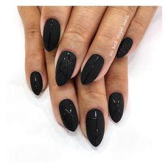 Black Acrylic Nails, Almond Acrylic Nails, Black Nails, Matte Black, Cute Nails, Pretty Nails, Black Almond Nails, Wedding Nail Polish, Black Wedding Nails