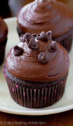 SO GOOD!!! Dark chocolate cupcakes topped with dark chocolate frosting! (Dark Chocolate Cupcakes)