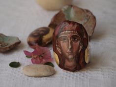 Miniature Saint Paraskevi OOAK icon in driftwood by angelicon, €21.00