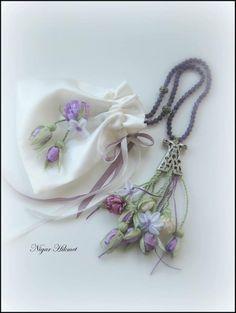 Ribbon embroidery, Nigar Hikmet, tesbih