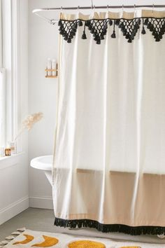 Shop Topanga Fringe Shower Curtain at Urban Outfitters today. We carry all the latest styles, colors and brands for you to choose from right here. Boho Bathroom, Bathroom Curtains, Small Bathroom, Best Shower Curtains, Bathroom Ideas, Bathroom Hacks, Bathroom Designs, Bathroom Wall, Shower Ideas