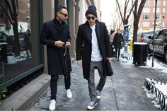 Double breasted coat and sneakers//new-york-fashion-week-fall-winter-2014-street-style-12
