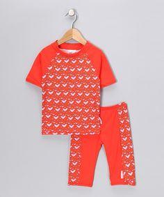 Orange Loving Heart Rashguard & Swim Shorts - Toddler & Girls   Daily deals for moms, babies and kids