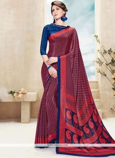 This multi colour faux crepe printed saree is including the wonderful glamorous showing the feel of cute and graceful. The ethnic print work over a dress adds a sign of elegance statement for the look...