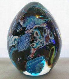 SMALL MILLEFIORI Murrine MURANO Glass PAPERWEIGHT EGG Rare TREASURE with LABEL