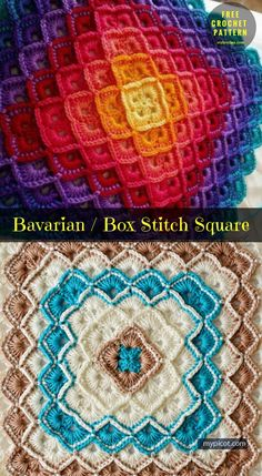 #Bavarian and #BoxCrochetStitch → Block Square #FreeCrochetPatern | size: any - easily adjusted | Written | US Terms Level: upper beginner yarn: 8 ply wool / 100% cotton, 50g 250m Hook: 4.0 - 2.5 mm Author: mypicot