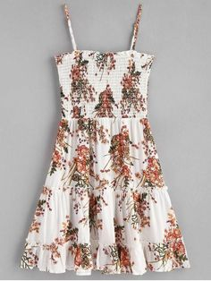 Adorned with the lovely floral print, this slip mini dress starts with a smocked bodice and finishes with a frilled trims design along the bottom. The adjustable spaghetti straps complement the feminine feel. Just pair it with some heels for a girl' s par Cute Summer Outfits, Girly Outfits, Cute Casual Outfits, Chic Outfits, Casual Dresses, Summer Dresses, Dress Outfits, Work Outfits, Girls Fashion Clothes