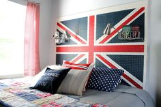 If you need a simple headboard that can stand up to some rough-and-tumble kids play, painted pegboard can fit any theme you choose! A pair of wire baskets give room for nighttime reading, glasses, or a clip-on lamp. See how House for Five painted her Union Jack headboard.