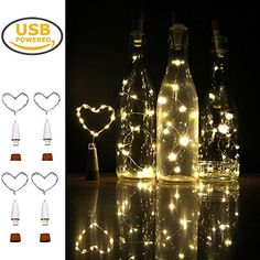Wine Bottle LightsiMazer Rechargeable USB Powered Cork Copper Wire String Starry LED Light for DIYPartyHome DecorChristmasWedding or Mood Lights Water Bottle Lights Warm White 4 Pack *** For more information, visit image link. (This is an affiliate link) Wine Bottle Corks, Lighted Wine Bottles, Bottle Lights, Wine Bottle Crafts, Bottle Art, Christmas Lights, Christmas Decorations, Bottle Decorations, Terrarium