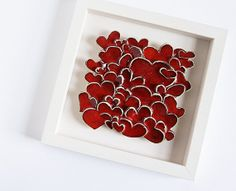 Love Hearts, modern wall art, sculptural ceramic tile, home decor, engagement, wedding, gift for parents. red and white via Etsy