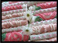 ooh.  these would be great.  Pink Vintage Chenille Squares For Patchwork Quilt Making