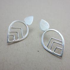 Leaf Motif Modern Sterling Silver earrings by winsomecreations on Etsy