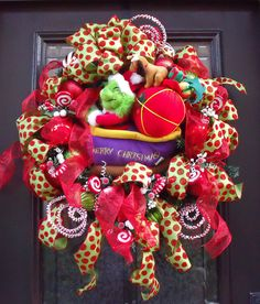 Grinch Christmas Wreath Front Door Wreath Cute Kids Christmas Decoration XL