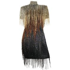 Preowned Naeem Khan Riazee Flapper Fringed Beaded Sequin Evening... ($1,400) ❤ liked on Polyvore featuring dresses, aesthetic evening dresses, black, beaded flapper dress, evening cocktail dresses, embellished cocktail dresses, fringe flapper dress and gatsby dress