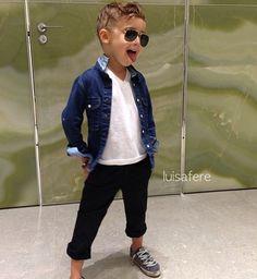 Boys fashion. Jean shirt. Casual look