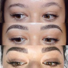 """Instagram @shaughnessy """"My client from Vegas came back for her touch-up today! We went a bit bolder and crazier in the fronts and added some intensity in the arches. Stoked on her new shape! First photo is her brows before, second photo is immediately after her first session with me and third photo is right after her touch-up today! Keep in mind that it can take a couple sessions or more to build up to this fullness but it's worth it, I promise! :) Thanks for the trust, girl!"""""""