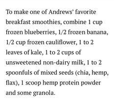 Breakfast smoothie from Time banana , blueberry frozen cauliflower ! Frozen Blueberries, Frozen Banana, Hemp Protein Powder, Breakfast Smoothies, Other Recipes, Cauliflower, Blueberry, Thermomix, Berry