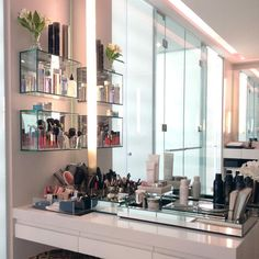 Give your makeup a proper home with these 22 inspiring ideas. With the right lighting, art work, and organization you'll be ready to bust out your brushes.