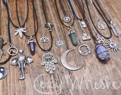 Boho Grunge Spiritual Hippie Hamsa Hand Sun Moon Crystal Rock Sunflower Elephant Buddha Om Pineapple Tattoo Charm Choker Chain Necklaces