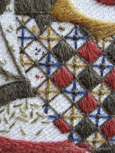 Tracy A Franklin - specialist embroiderer. Trellis work. #thesewcial November 2015 'Kilt Pin Crewel'