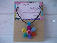Needle Felted Flower Pendant with a soft cord necklace. £7.00