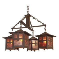 Steel Partners Hillcrest 4 Light Chandelier Finish: Old Iron, Shade / Lens: Amber Mica