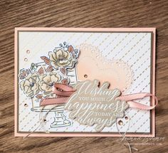 A sweet combination of Stampin' Up! Spring Summer and 2020 Sale-A-Bration FREE products all wrapped up in this sweet wedding card by Jeanna Bohanon Happy Birthday Funny, Happy Birthday Images, Funny Birthday Cards, Birthday Humorous, Birthday Sayings, Funny Happy, Birthday Greetings, Birthday Wishes, Wedding Anniversary Cards