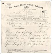 Image of a Telegraph Message  1854  The first telegram message was sent along a l0 kilometre line between Melbourne and Williamstown