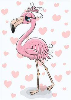 Cartoon flamingo on a hearts background. Cute Cartoon flamingo on a hearts background royalty free illustration Flamingo Vector, Flamingo Art, Pink Flamingos, Flamingo Illustration, Heart Background, Cartoon Background, Cartoon Mignon, How To Draw Flamingo, Dibujos Cute