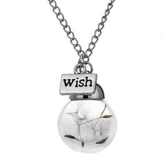 Make A Wish Glass Bead Orb Silver Plated Necklace