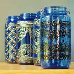 Moroccan Jar Lantern Lapis Blue Glass with Black by LITdecor, $45.00