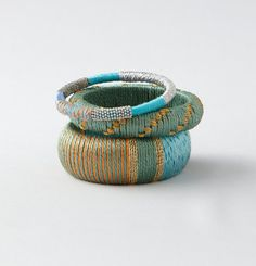 I want this! --> Loft - LOFT Bracelets and Watches - Thread Wrapped Embroidered Bangle Set