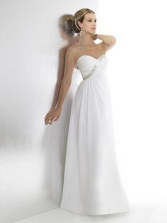 Sheath/Column Sweetheart Elastic Woven Satin Floor-length Beading Wedding Dresses Shop uk