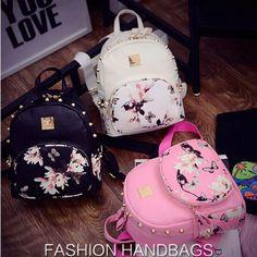 13.79$  Buy here - Hanup Fashion Flower Butterfly Printing Women's Small Leather Backpack Rivet Girl Schoolbag Ladies Travel Mini Backpacks Bag  #bestbuy