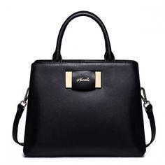 NUCELLE Skórzana torebka do ręki z kokardą Czarna