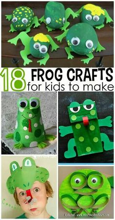 Cute Frog Crafts for Kids to Create (Fun for bulletin boards, door decorations, and more in the frog theme classroom! Crafts For Kids To Make, Projects For Kids, Kids Crafts, Art For Kids, Arts And Crafts, Project Ideas, Green Crafts For Kids, Frog Activities, Frog Theme