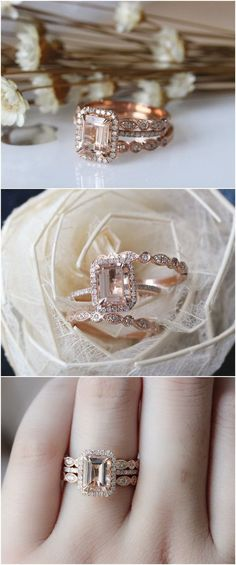 3PCS ring set Emerald Cut 14K Rose Gold Morganite Ring Set Morganite Engagement Ring Set Wedding Ring Set / http://www.deerpearlflowers.com/rose-gold-engagement-rings/ #DazzlingDiamondEngagementRings #emeraldring #goldweddingring