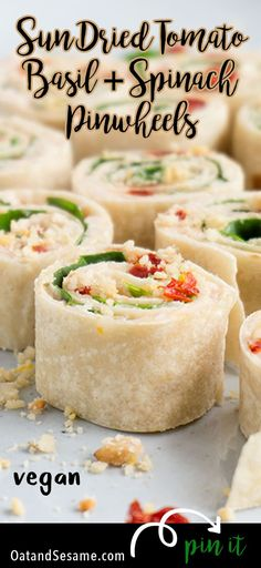 These Sun-Dried Tomato, Basil & Spinach Pinwheels make a perfect party appetizer or light lunch. They take about 15 minutes to make and are a healthy alternative to pinwheels made with cream cheese. | APPETIZERS| LUNCH | VEGETARIAN | VEGAN | ROLL UPS | PINWHEELS | Recipe at OatandSesame.com