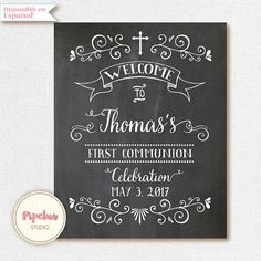 Welcome poster. Welcome First Communion Poster. First Communion Chalkboard Poster. Welcome First Holy Communion sign. Baptism Chalkboard.