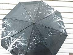 Hand Painted Umbrella Black and White  Birds in by PerriArts, $24.00