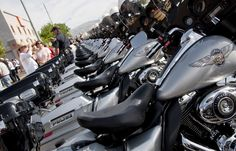 Unified Police of Greater Salt Lake Harley-Davidson motorcycles are shown lined up in front of the Harley-Davidson of Salt Lake City shop before the beginning of the 61st Annual Wendover MDA Ride on Sunday, June 3, 2012. Joe Timmons, the shop's owner, estimates that over 2000 riders participated in the ride, which is geared toward raising funds for the Muscular Dystrophy Association in Utah. (Michael Mangum | Special to the Tribune)