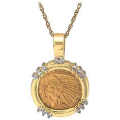 Indian Head 2.5 Dollar Gold Coin in Diamond Gold Frame | From a unique collection of vintage pendant necklaces at https://www.1stdibs.com/jewelry/necklaces/pendant-necklaces/