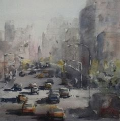 """Taxi Lane"" original watercolor painting by Julie Hill (6"" x 6"")"