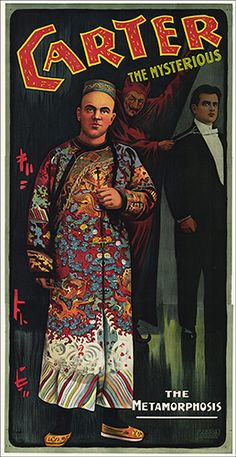 """Chicago: Illinois Litho, ca. 1905. A full-length portrait of Carter, clad in a Chinese robe, fills the poster, with a shadowy portrait of the magician in his tuxedo in the background, along with Mephistopheles. In his performance, Carter played the role of a Chinese magician, presenting feats associated with Ching Ling Foo, including the production of a giant bowl of water. 40 x 79"""". A. The only known example of this poster."""