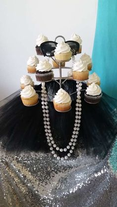 Cupcakes at a Tiffany & Co. baby shower party! See more party planning ideas at CatchMyParty.com!