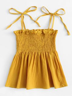 Shop Frill Trim Pleated Cami Top at ROMWE, discover more fashion styles online. Winter Fashion Outfits, Cute Fashion, Teen Fashion, Summer Outfits, Girl Outfits, Trendy Tops, Cute Tops, Cute Casual Outfits, Casual Dresses