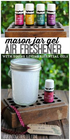 DIY mason jar gel air fresheners made with Young Living essential oils!