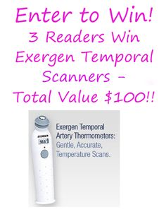 Enter to win an Exergen Temporal Scanner Giveaway Dates - Enter To Win, Giveaways, The 100, Cash Money, Win Prizes, Dates, Coupons, Holiday, Christmas